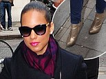 These boots were made for mornings: Alicia Keys brightens up an early radio show appearance with her gold boots