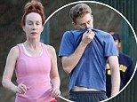 Keep up!: Make-up free Kathy Griffin, 51, leaves her 33-year-old toyboy Randy in the dust on a strenuous hike