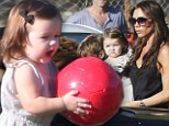 Victoria Beckham took her daughter Harper to her sons' football match