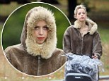 Peaches Geldof treats a walk in the park like an Antarctica expedition.... by wearing a HUGE fur outfit