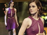 Not a wallflower anymore: Emma Watson shows off risque purple leather slit dress on The Jonathan Ross show