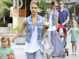 Jessica Alba and her family head to lunch at The Newsroom Cafe in West Hollywood