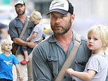 His favourite role of all! Liev Schreiber plays proud parent for his two sons as they enjoy the Big Apple