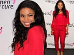 Lady in red: Jordin Sparks turns heads in an eye-catching crimson ensemble as she steps out at charity bash