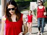 Like mother, like daughter: Jennifer Garner and mini-me Violet sport co-ordinating red outfits for a girls' day out