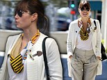 Stylish Jessica Biel goes for the preppy look as she indulges in a spot of retail therapy
