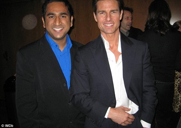 Scenester: Shah, pictured with Tom Cruise, made his rounds at several A-list parties