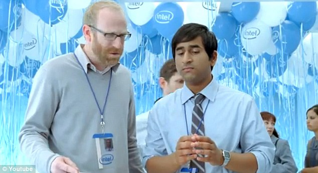Typecast: Shah, right, was also cast in a 2010 Intel advert where he and a fellow actor argued over how to cut a cake