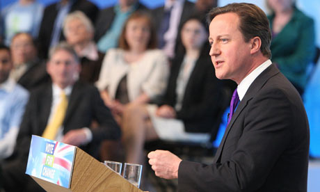 David Cameron at the launch of the Tory party manifesto