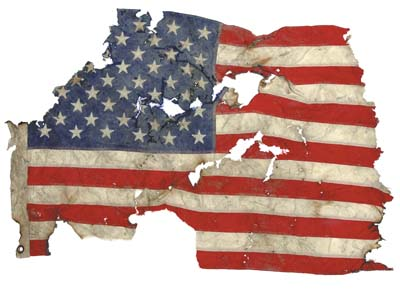 American flag recovered amid World Trade Center debris
