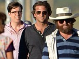 Actors Bradley Copper and Zach Galifianakis filming new scenes for