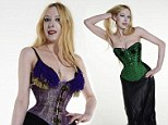 Nerina Orton, the girl with Britain's smallest waist, poses in a tight corset