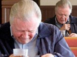 Distressed: Jon Voight appeared to be upset over breakfast on Sunday