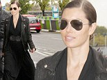 She means business! Jessica Biel sports an all black outfit, aviator sunglasses and a slicked back hair do to visit Paris museum
