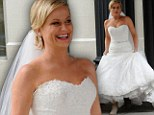 That was quick! Amy Poehler is back in wedding dress weeks after marriage split (but its only for a movie role)