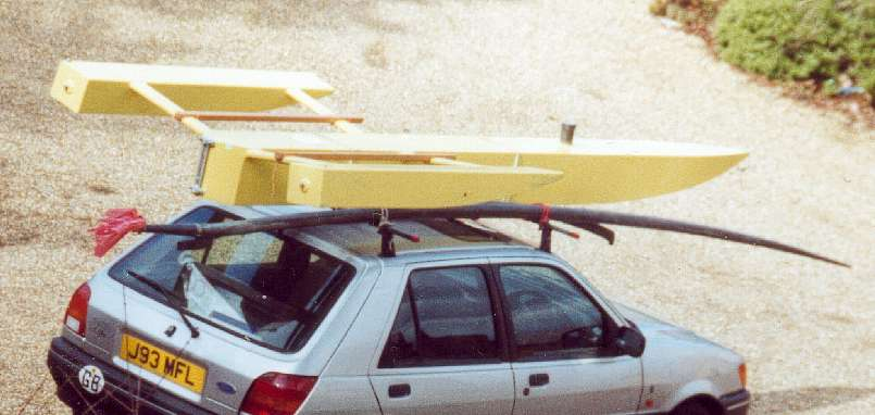 The boat carried on roof rack
