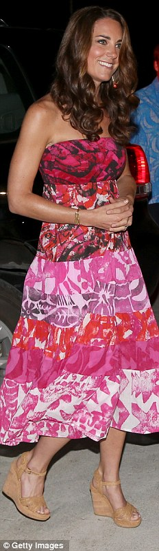 TAV PACIFIC, £245: After jetting to the Solomon Islands, the Duchess was given this vibrant dress which she teamed £230 Stuart Weitzman wedges, £36 earrings and £240 bracelet both from myflashtrash.com
