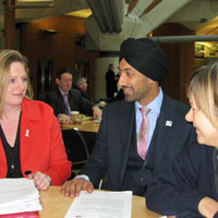 Mary Macleod, Brentford & Isleworth MP, (left) with Boris Johnson's transport advisor Kulveer Ranger and Angie Bray, MP for Ealing Central and Acton