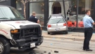 Debris on the ground is seen at the scene of a collision on King Street East, Friday, Oct. 19, 2012.  (Danny Pinto / CTV News)