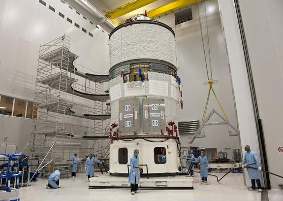 Photo of Europe's ATV Johannes Kepler spacecraft before launch.