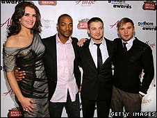 Brooke Shields with Hurt Locker stars Anthony Mackie, Jeremy Renner and Brian Geraghty