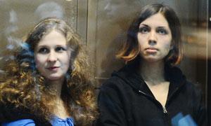Pussy Riot band members Maria Alyokhina and Nadezhda Tolokonnikova during their court hearing