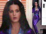 Pretty in purple: Katy Perry gets to work on her Popchips snack brand commericial in L.A. on Wednesday