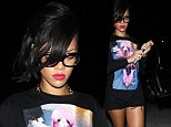Specs-tacular! Rihanna sexes up geeky glasses and shows off her perfect pins in short black cut-offs
