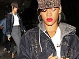 Trying to keep a low profile: Rihanna heads to dinner covered up... as she puts her best friend's 'rice cake' slur to one side