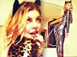 Nice kitty! Halloween comes early for Fergie as she show's off leopard costume