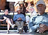 Well they are getting on a bit! Robert De Niro, Morgan Freeman and Kevin Kline relax on a bench on set of Last Vegas