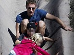 Dad on duty: Chris Martin went exploring with his children Apple and Moses while hiking in the Hollywood Hills on Wednesday