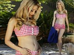 Pregnant Holly Madison shows off growing baby bump in pretty gingham bikini