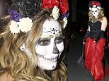 Spooky: Hilary Duff evoked the Day of the Dead theme to attend a Halloween costume party on Friday night