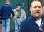 How DO you get yours so bushy? Russell Crowe gets some beard grooming tips from vagabond Radio Man