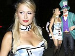 Out of fresh ideas: Paris Hilton dresses up as Alice in Wonderland (again) as she attends a Halloween party with boyfriend River Viiperi