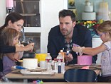 Family fun: Ben Affleck proved himself to be quite domesticated as he helped daughters Violet and Seraphina, along with wife Jennifer Garner at Duff's Cake Mix in West Hollywood