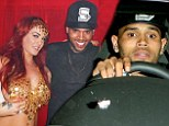 Chris Brown attends Playboy mansion party