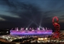 The Olympic Stadium lit up for the Closing Ceremony