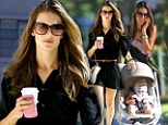 Taking it in her stride: Alessandra Ambrosio transforms herself from mom in maxi dress to model in thigh skimming mini