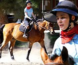 Zooey Deschanel hits the pen for some horseback lessons in Sylmar, CA