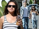 Stars and stripes: Ashton Kutcher and Mila Kunis opt for a casual look as they take in a romantic L.A. stroll