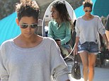 Horsing around: Halle Berry is hot to trot in tiny denim shorts as little Nahla goes riding with her father