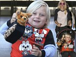 Gwen Stefani and her son Zuma head to LAX with some friends to catch a departing flight to London