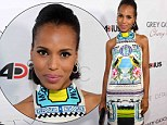 Like fine china: Kerry Washington is as delicate as an oriental vase in a bold printed halterneck dress