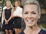 Jennie Garth is stunning in a black and pink peplum dress as she checks her pulse to test if she's ready to start dating again
