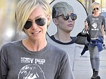 Portia De Rossi wears an Iggy Pop shirt in West Hollywood as she leaves a salon on Melrose Avenue