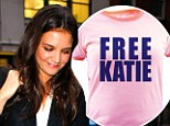 Awkward! Katie Holmes is left embarrassed after she meets fans wearing 'Free Katie' T-shirts