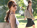 Natural beauty: Minka Kelly looks stunning in white tank top on her way to acting class