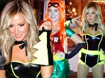 Skimpy superhero: Ashley Tisdale hits the town on Halloween in underwear inspired Batman costume